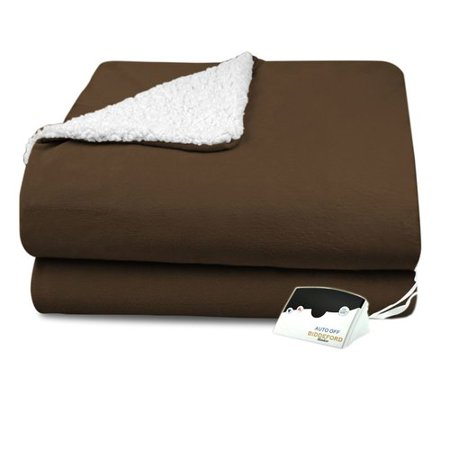 Biddeford Electric Heated Micro Mink and Sherpa Blanket,