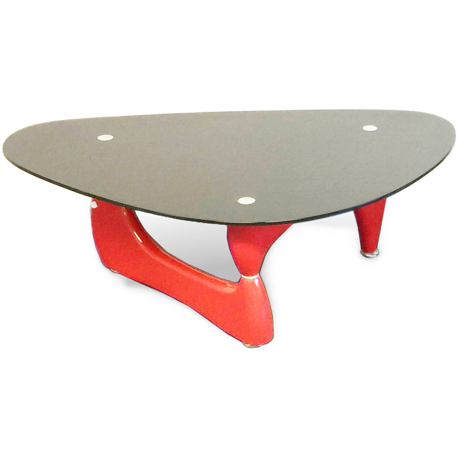 High Quality Noguchi Style Coffee Table, Red Color With Black Glass Top