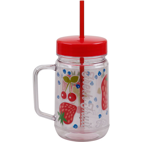 Mainstays 23-Ounce Double Wall Jar with Lid and Straw, Strawberry Print