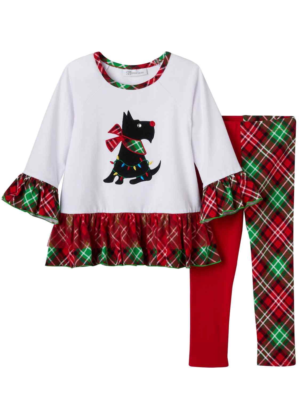 Infant & Toddler Girls Scottie Dog Holiday Outfit Ruffled Shirt & Leggings