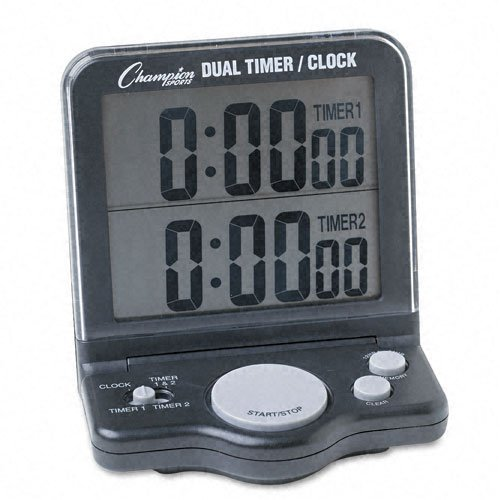 Champion Sport Dual Timer Stop Watch - 1 Day - Desktop, Wall Mountable - For Sports - Black (dc100_40)