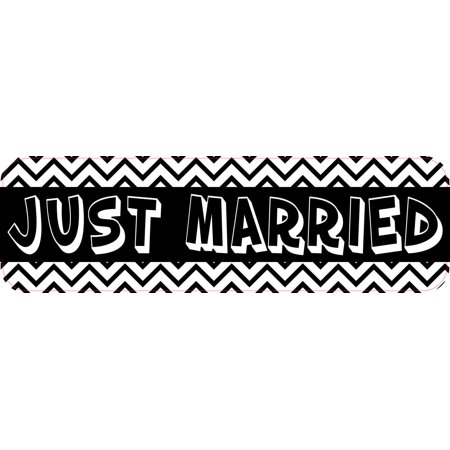 10X3 Chevron Just Married Bumper Sticker Vinyl Decal Car Window Truck Door Sign - Just Married Car Decorating Kit