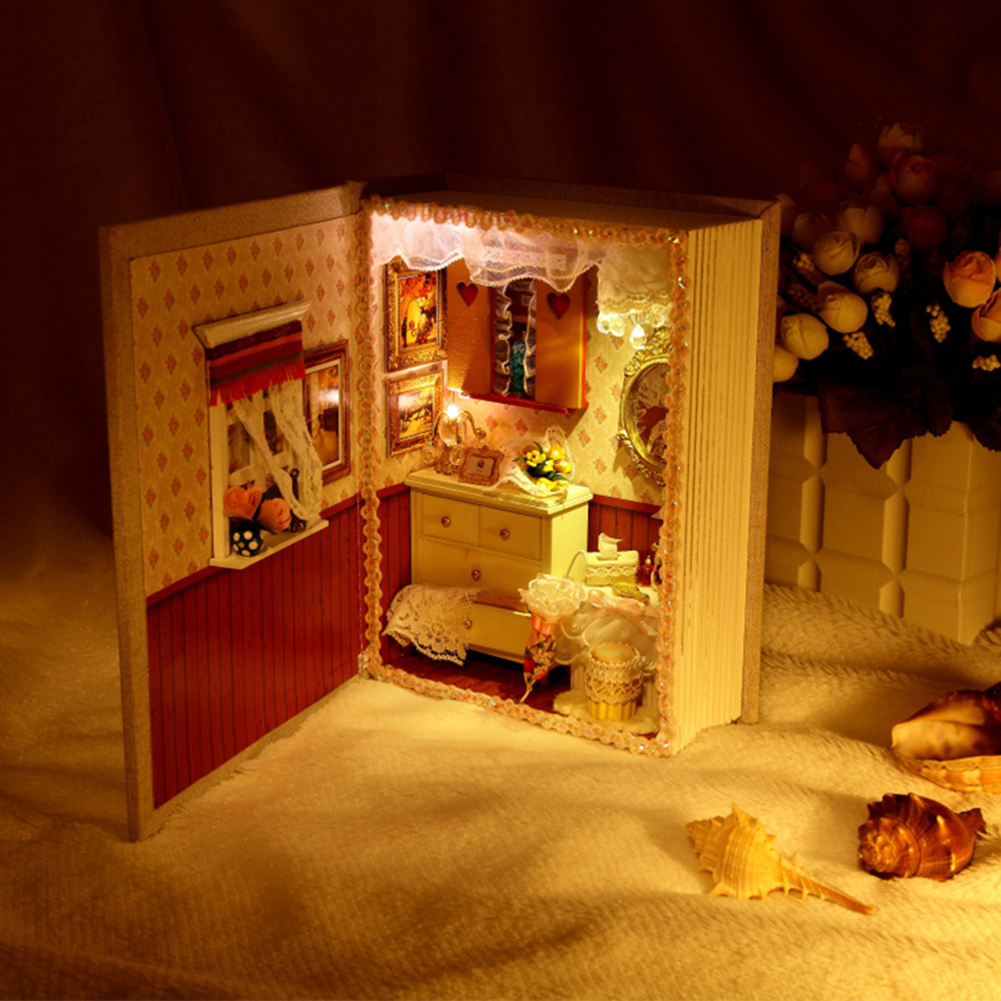 Dollhouse Miniature DIY House Book Wood Cute Room with LED Furniture Kit Girl Gift Toy, Girl Diary