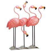 Yard Flamingos, Animal Outdoor Garden Statues, Funny Metal Pink Flamingos Yard (Sold by Case, Pack of 4)