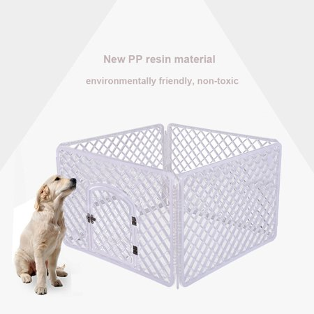 4-Panel Pet Pen Dog Fence Dog Cage Small And Medium Dogs PP Resin Fence Protect ()