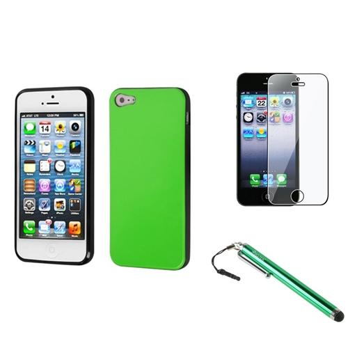 Insten Apple Green/Black Candy Skin Case For iPhone SE 5 / 5s + Stylus + Screen Protector