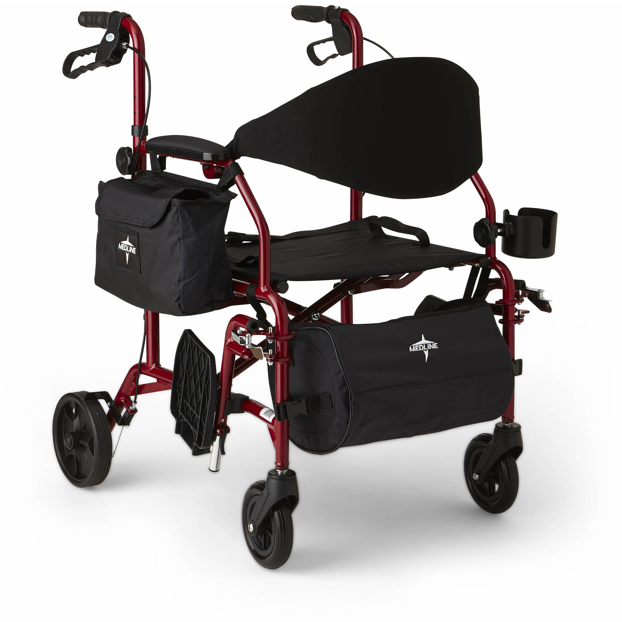 Medline Combination Rollator/Transport Wheelchair, Red