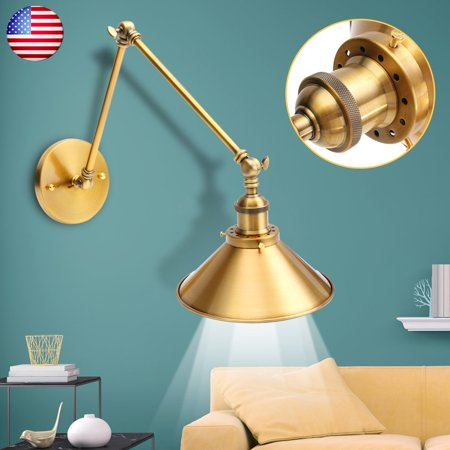 Lighting Modern Retro Industrial Swing Arm Wall Lights E26/E27 Fixture Lamps Shade Loft Dark Brass Sconce Home Decor for Bedroom Reading