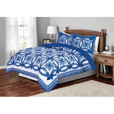 Mainstays Traditional Wedding Ring Patterned Quilt, Full/Queen, Blue - Blue Lantern Ring For Sale