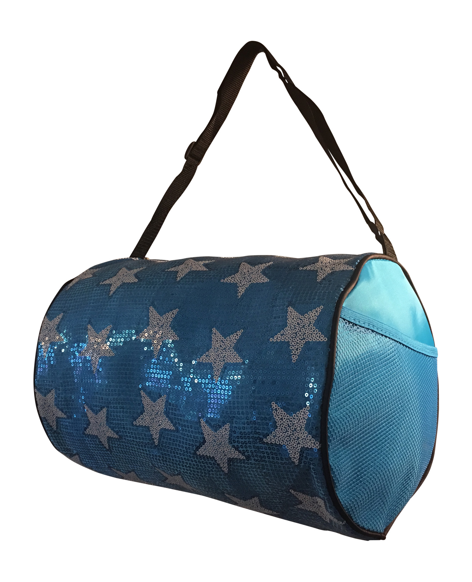 Girls Dance Duffle Bag White Sequin Star (Turquoise) by