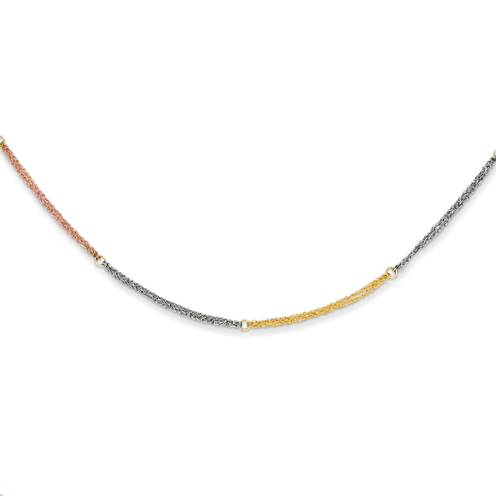14k Three Tone Gold 16in Section Strands w/ 2in Ext Necklace