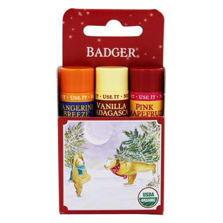 Badger - Organic Classic Holiday Lip Balm Red Box Tangerine Breeze, Pink Grapefruit, Vanilla - 3 Pack (pack of 6).