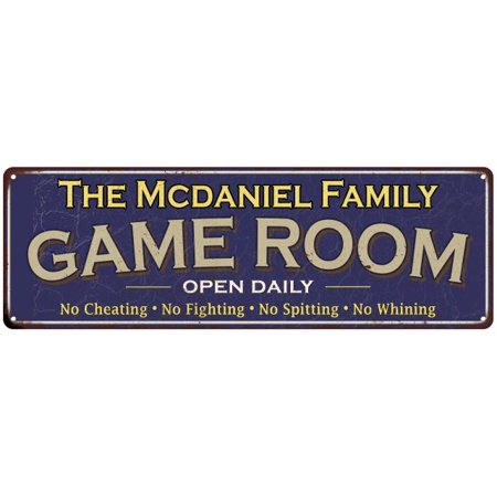 The Mcdaniel Family Personalized Blue Game Room Metal 6x18 Sign (Mcdaniel Metals)