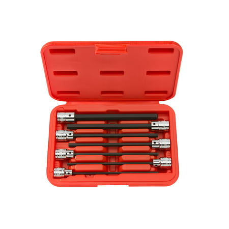 TEKTON 3/8 Inch Drive Long Hex Bit Socket Set, 7-Piece (3-10 mm) | (Vortex Bit Socket Set)