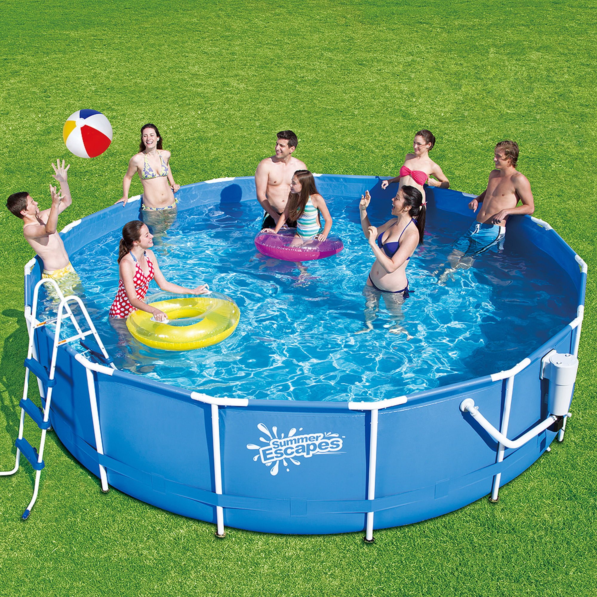 summer escapes 15x42 metal frame swimming pool set with deluxe kit walmartcom