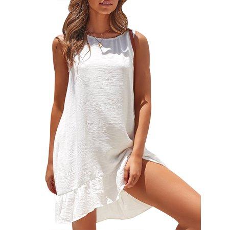 EZCottonLinen Womens Linen Cotton Tunic T-Shirt Dress Ladies Sleeveless Ruffle Solid Mini Dress