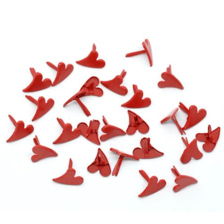Heart Brad Fasteners (100 Paper Craft Fasteners Red Heart Brads 1/3 Inches Shank 9.5mm Head )