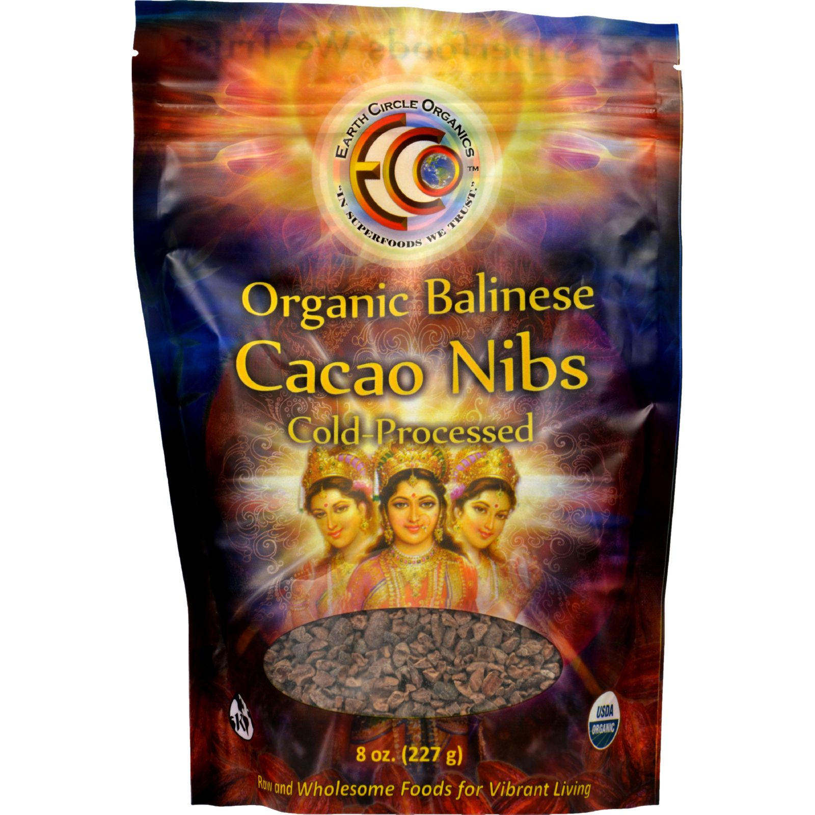 Earth Circle Organics Cacao Nibs - Organic - Balinese Raw - 8 oz