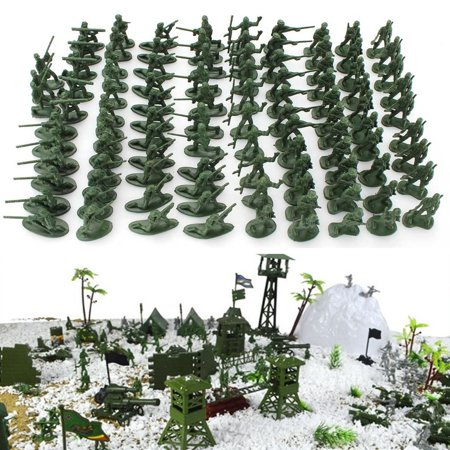 Action Figure Green Box (Moaere 100 Pcs Various in Pose Toy Soldiers Figures Army Men Green Action Figures for Kids)