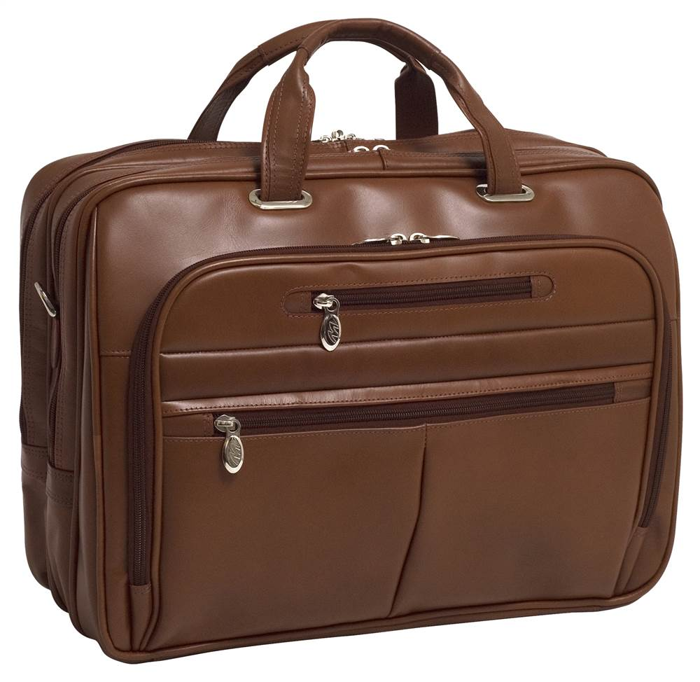 McKlein 86515 Rockford 86515- Black Leather Fly-Through Checkpoint-Friendly 17 in. Laptop Case