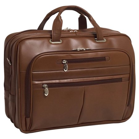 Mcklein Mens Rockford 17  Leather Fly Through Checkpoint Friendly Laptop Case