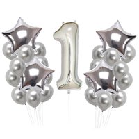 AkoaDa 1St Happy Birthday Confetti Balloons Blue Baby Shower Party Decoration Kid Favor