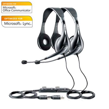 jabra voice 150 duo ms usb headset w noise canceling microphone 2 pack. Black Bedroom Furniture Sets. Home Design Ideas
