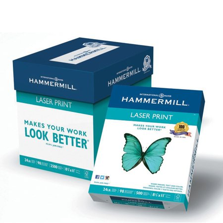 Hammermill Paper, Laser Print Poly Wrap, 24lb, 8.5 x 11, Letter, 98 Bright, 2500 sheets / 5 ream Case, (Single Sided Poly Paper)