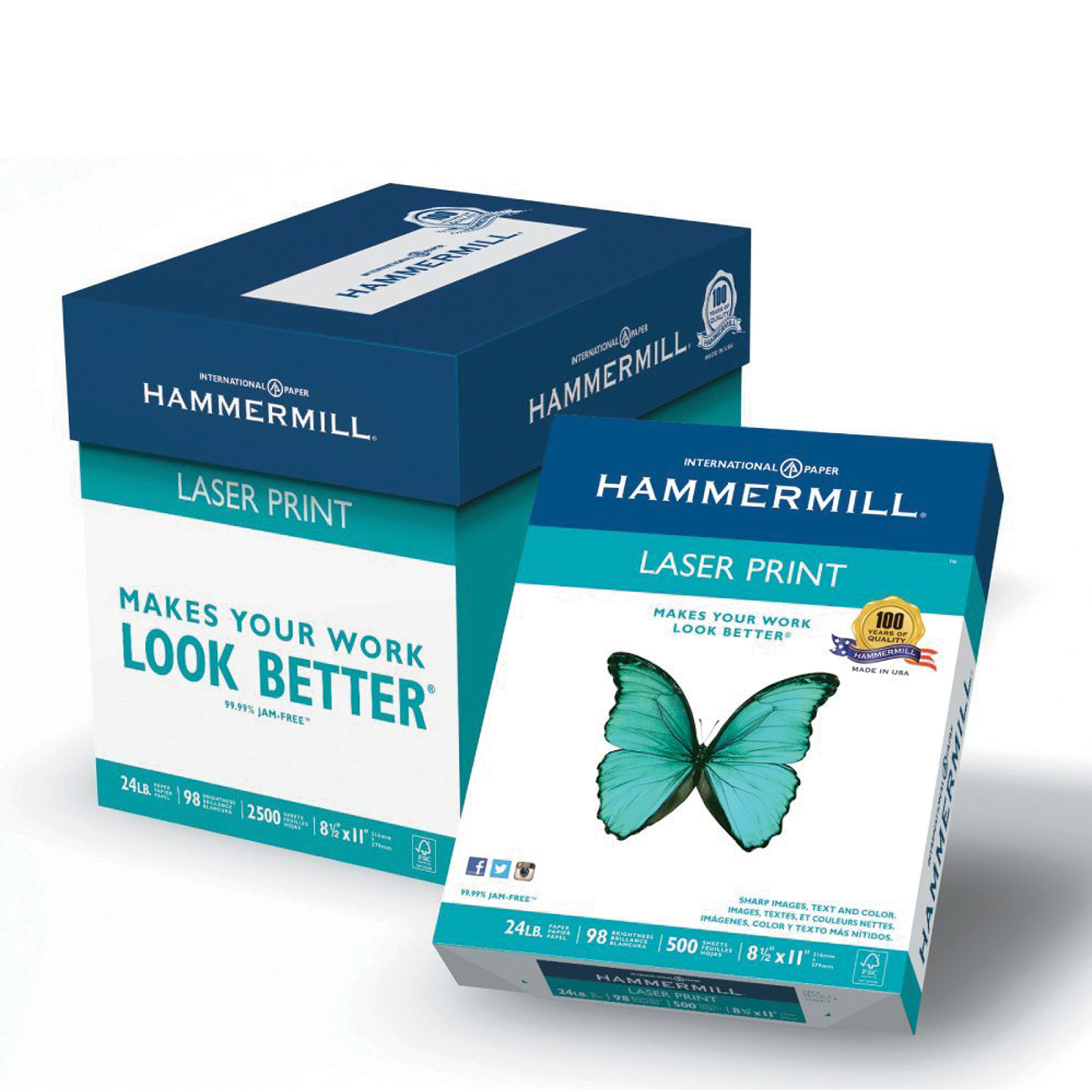 Hammermill Paper, Laser Print Poly Wrap, 24lb, 8.5 x 11, Letter, 98 Bright, 2500 sheets / 5 ream Case, (104640C)