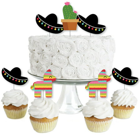 Let's Fiesta - Dessert Cupcake Toppers - Mexican Fiesta Party Clear Treat Picks - Set of 24