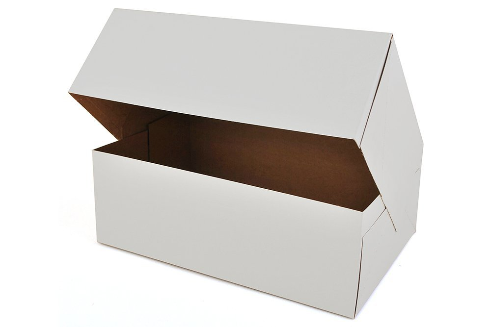 Pack of 15 12 Length x 8 Width x 2.25 Height White Kraft Paperboard Auto-Popup 1-Piece Donut Bakery Box by MT Products