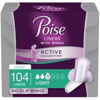 Poise Active Collection Incontinence Liner with Wings, Light Absorbency, Unscented, 104 Ct