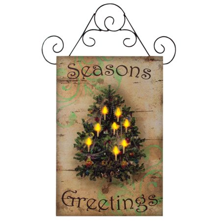 Seasons Greetings Canvas Radiance Lighted Wall Art, 24 by 16 by 3/4