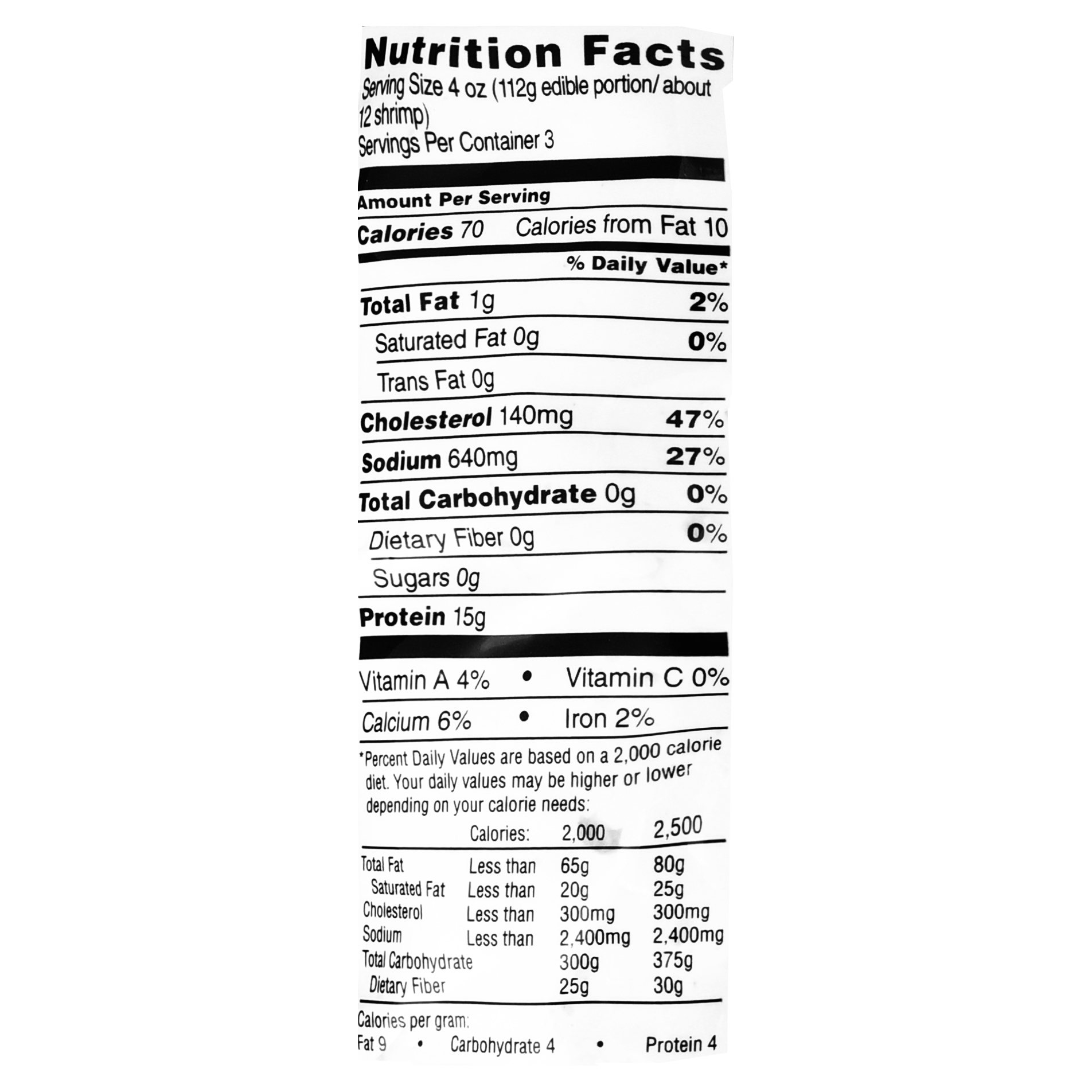Shrimp Nutrition Chart Pflag