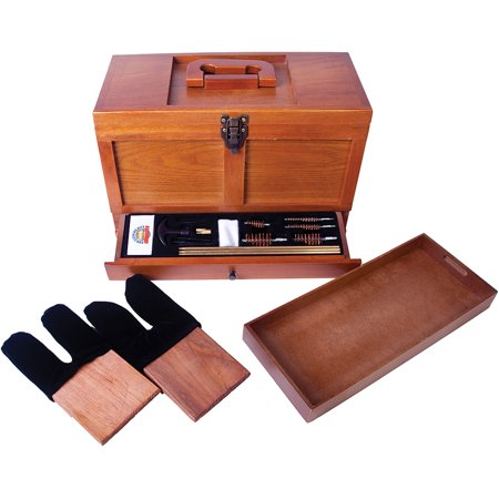Gun Cleaning Box (Gunmaster Wooden Toolbox with Universal Gun Cleaning Kit)