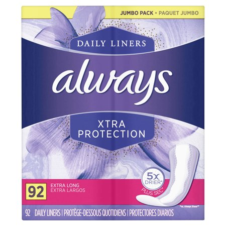 Thin Pantiliners - Always Xtra Protection Dailies Extra Long Panty Liners, Unscented, 92 Count