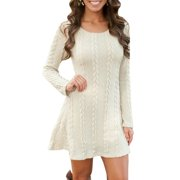 Women Ladies Winter long Sleeve Round Neck Slim Knitted Sweater Jumper Party Midi Dress
