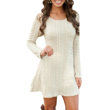 Party City Winter Springs (Women Ladies Winter long Sleeve Round Neck Slim Knitted Sweater Jumper Party Midi)