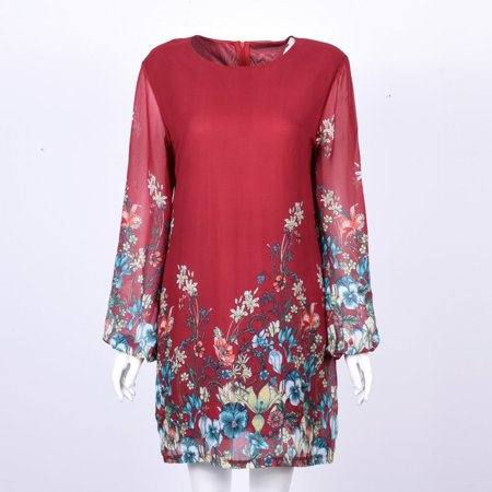 EFINNY Women Floral Chiffon Long Sleeve Party (Satin Trimmed Chiffon Dress)