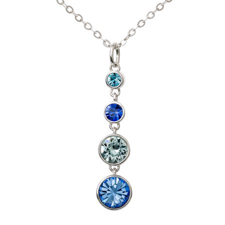 "FINE SILVER PLATED BLUE CRYSTAL DROP NECKLACE, 18"" + 2"" CHAIN"