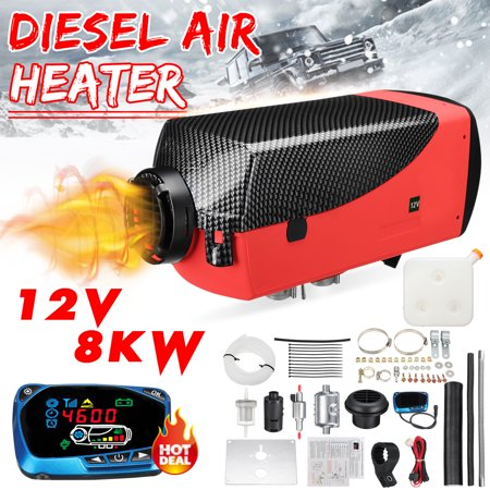 12V 8KW Diesel Air Heater LCD Thermostat + 10L Tank +Muffler For Car Trucks Boat Motorhomes Vehicles(Black carbon