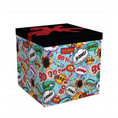 Gift Box 9x9x9 Big Bang Pop up in Seconds comes with Decorative Ribbon mounted on the lid A Gift Tag and Tissue Paper - No Glue or Tape Required - Cardboard Gift Boxes With Lids