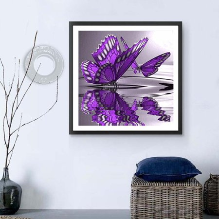 outdoorline 5D Diy Crystal Diamond Painting Purple Butterfly On The Water Round Rhinestone Handcraft Cross Stitch Room Decoration - image 4 of 9
