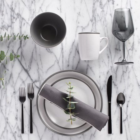 Safdie & Co. 16-Piece Dinnerware Set, Grey, 2 (2 Tone 16 Piece)