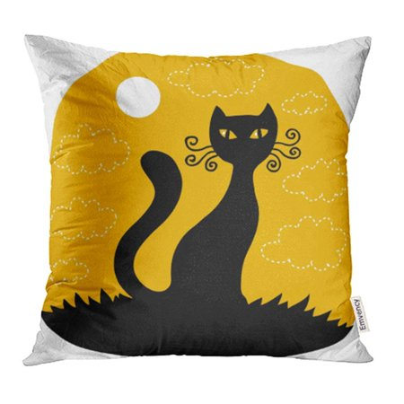 CMFUN Orange Cat Halloween Red Black Bat Silhouette Eyes Scary Cute Flying Pillow Case Pillow Cover 18x18 inch Throw Pillow Covers (Red And Black Halloween Eyes)