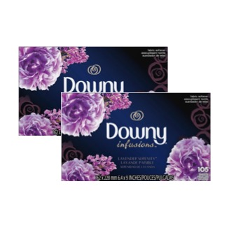 (2 Pack) Downy Infusions Lavender Serenity Fabric Softener Dryer Sheets, 105 count
