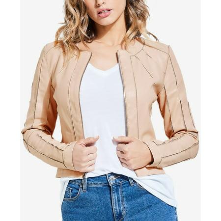 Sand Women's Medium Faux-Leather Zip Front Moto Jacket M