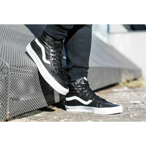 Vans SK8 Hi Reissue Premium Leather Black Men's Skate Shoes Size 13