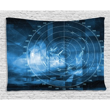 Navy Blue Decor Tapestry  Modern Ship With Radar Exposure In Screen Digital Electronic Futuristic Concept  Wall Hanging For Bedroom Living Room Dorm Decor  60W X 40L Inches  Blue  By Ambesonne