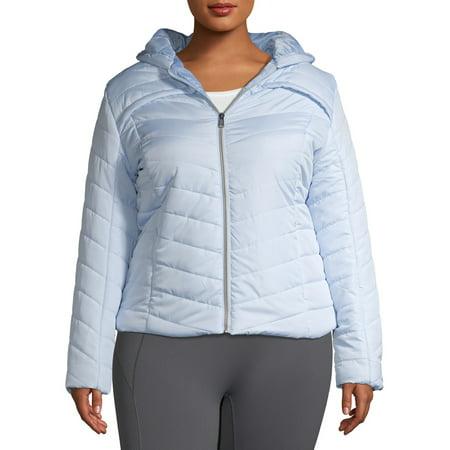 Pink Platinum Junior Plus Size Midweight Quilt Faux Packable Puffer Jacket